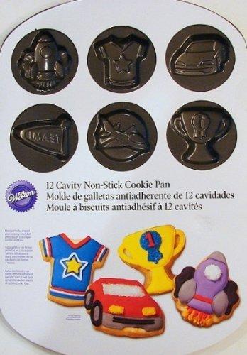 Wilton 12 Cavity Non-stick Cookie Pan Boys Theme -T S-shirt-trophy Rocket-race Car-