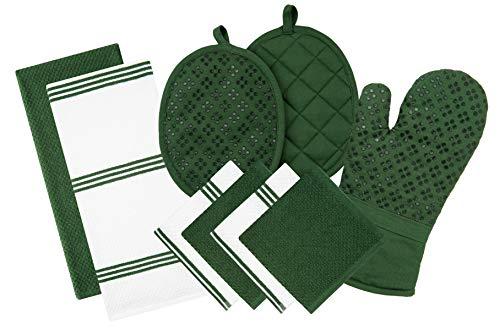 Sticky Toffee Silicone Printed Oven Mitt Pot Holder Cotton Terry Kitchen Dish Towel Dishcloth Dark Green 9 Piece Set