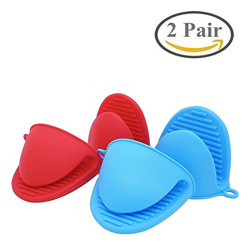 BoomYou Silicone Pot Holder Oven Mitt Heat Resistant Cooking Finger Protector Pinch Grips Mini Anti-scald Gloves Pot Holder Potholder for Kitchen 2 Pairs  Blue Red
