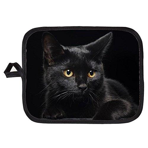 CafePress - Black Cat - Pot Holder Heat Resistant Fabric Trivet