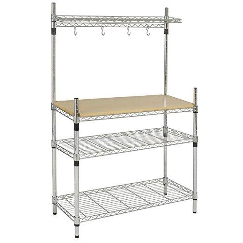 BCP Kitchen Storage Bakers Rack Chrome Wood W Top Shelf Pan Hanger Cookware
