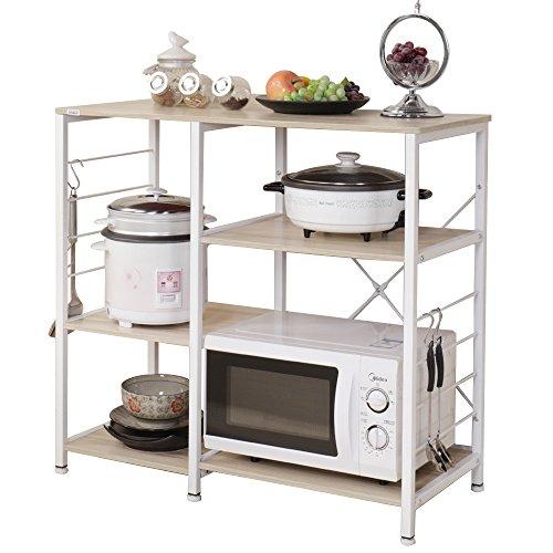 Dland Microwave Cart Stand 354 Kitchen Utility Storage 3-Tier3-Tier for Baker's Rack Spice Rack Organizer Workstation Shelf Maple