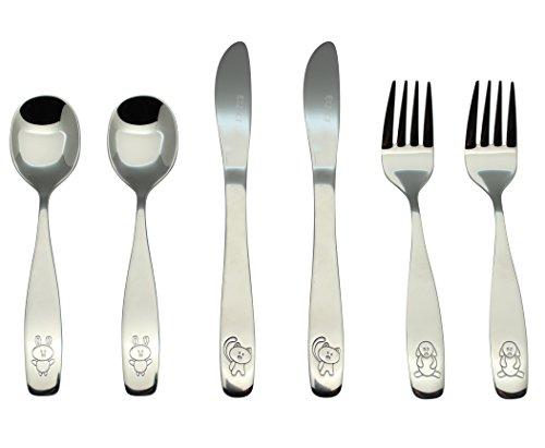 Exzact Stainless Steel 6 pcs Childrens Flatware Cutlery Set - 2 x Forks 2 x Safe Dinnerknife 2 x Dinner Spoons - Dog Cat Bunny Design
