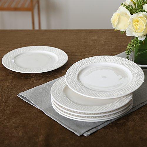 SOLECASA 7-inchSet of 6 White PorcelainCeramic Round Dinner PlateServing PlateSaladDessertBread&Butter Plate