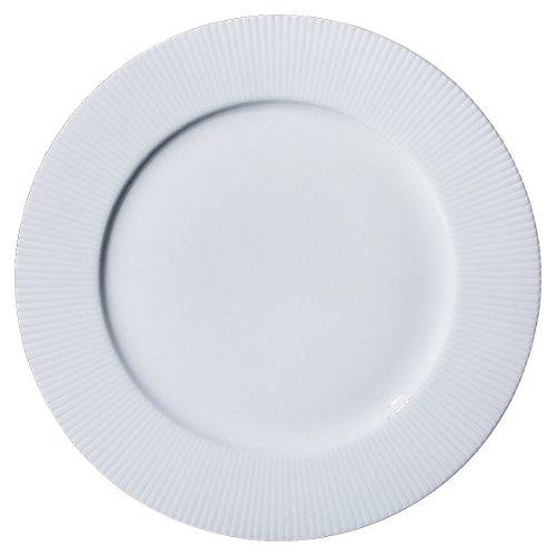 YHY 6 Pcs 105-inch Porcelain Vertical Line Dinner Plate Set White Serving Plates