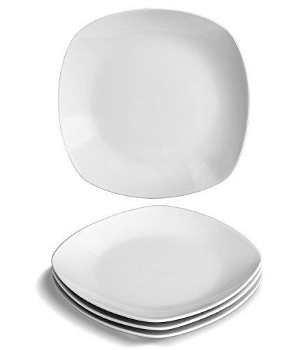 YHY 4 pcs 73-inch Porcelain DessertAppetizer Plates White Square Plate Set