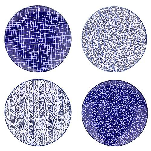 Vancasso 4-Piece Blue Glazed Patterned Porcelain China Ceramic 85 Round Dessert Dishes Plates Dinnerware Plates Set