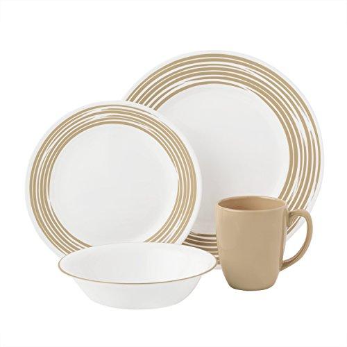 Corelle Boutique Brushed 16-Pc Dinnerware Set Sand w 3 Bonus Clips