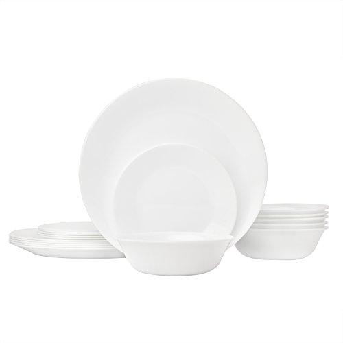 Corelle Livingware 18-Piece Glass Dinnerware Set Winter Frost White Service for 6