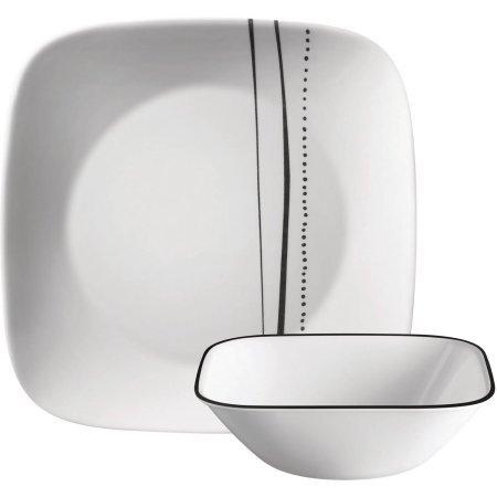 Corelle Square 8-Piece Dinnerware Set Cascading Lines