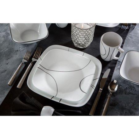 Corelle Squares Simple Lines 16-Piece Dinnerware Set