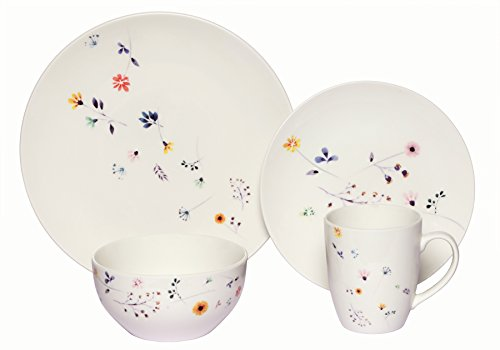 Melange Coupe 16-Piece Porcelain Dinnerware Set Scattered Wildflowers  Service for 4  Microwave Dishwasher Oven Safe  Dinner Plate Salad Plate Soup Bowl Mug 4 Each