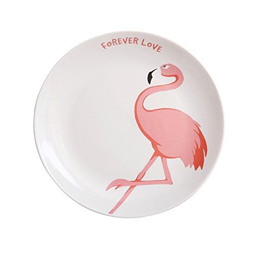 SOCOSY Ceramic Pink Flamingo Plate Dinner PlateDessert PlateAppetizer PlateSalad DishSteak PlateService Plate for Party Kitchen 8