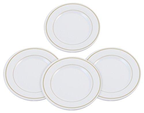 Set of 4 Melamine 9 Dinner Plates - Stain Chip and Break Resistant Good for RV's