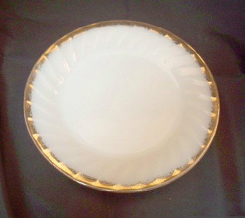 Vintage Fire King White Swirl 9 Dinner Plate 22K Golden Anniversary