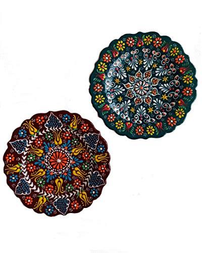 Ayennur Turkish Decorative Serving Plates Set of 2-708 Home Wall Hanging Decors Multi 1
