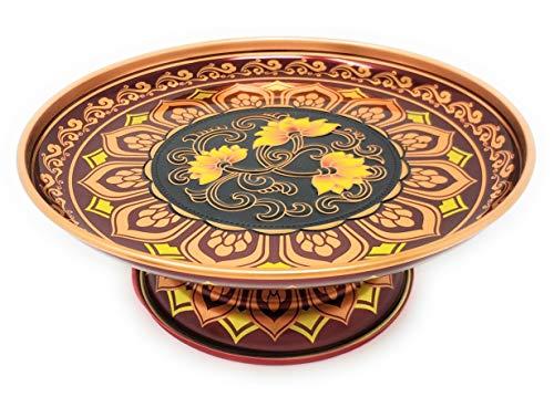 CERALAND 9 Metal Home Decor Plate Bowl Etching Flower Pattern Centerpiece Decor Bowl Decorative Fruit Plate Bowl with Pedestal