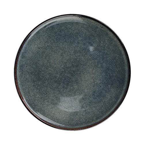 Plates Home Round Plate Retro Dark Ceramics Disc Western Restaurant Round Steak Plate Home Fruit Tray Dinner Plates