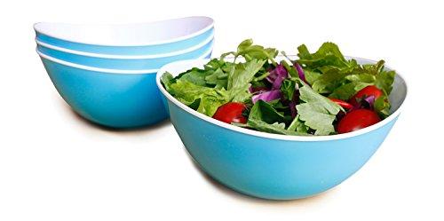 48-oz PastaSalad BowlsSet of 4Unbreakable Plastic and Wavy Rim2-ToneLight Blue and WhiteHonla