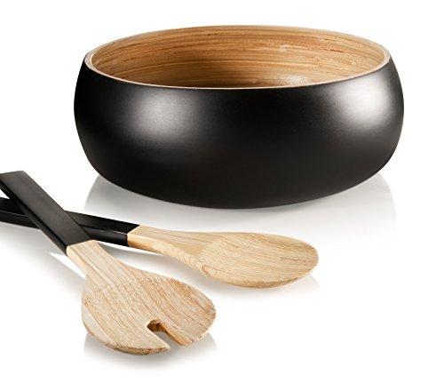 Francois et Mimi 3 Piece Bamboo Salad Bowl Set with Utensils 11 Diameter Black