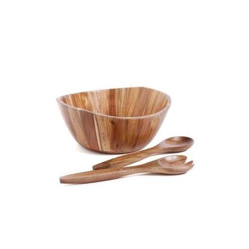 Gibson Home Natural Trends Ashville 3 Piece Acacia Wood Salad Bowl Set Brown