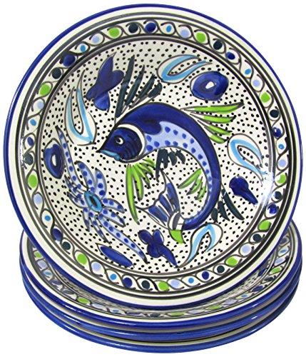 Le Souk Ceramique AF39 Stoneware PastaSalad Bowls Set of 4 Aqua Fish
