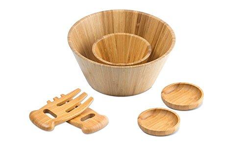 Modernhome BSS-625 6 Piece Serving Bowls Salad FingersSalad Servers Bamboo Salad Bowl Set Natural