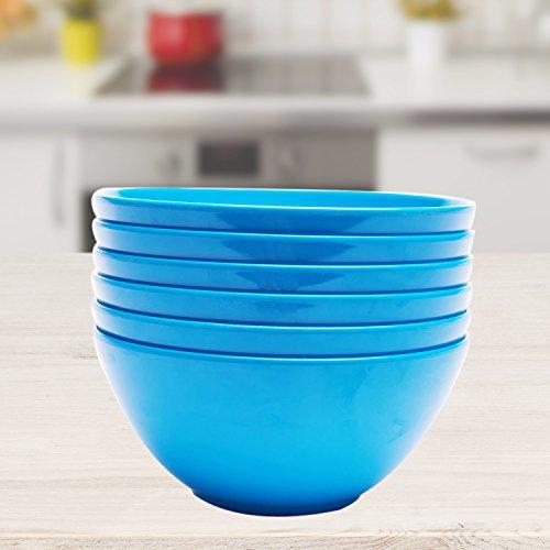 Yinshine Melamine 6 Inch Dinnerware Salad Bowls Set of 6 Blue
