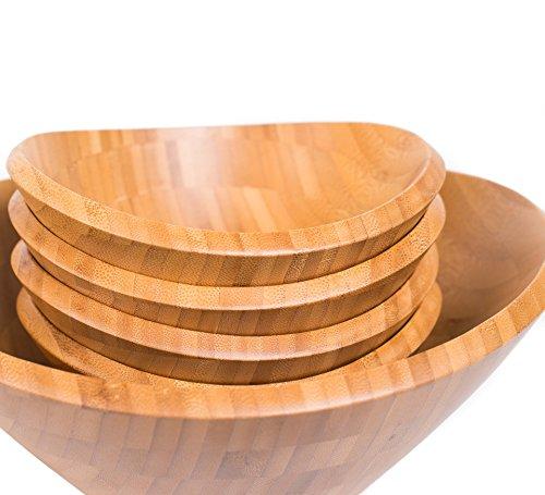 BirdRock Home Bamboo Salad Bowl Set  Set of 5  Wooden Stackable Bowls for Salad Pasta Fruit  Kitchen Bowl Set