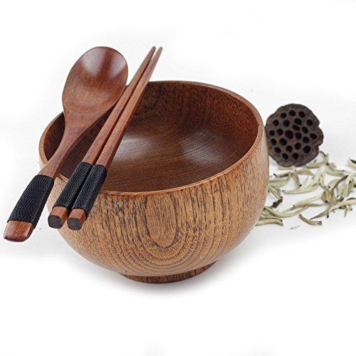Nadalan Wooden Bowl Retro Style Small Wooden Bowl Chopsticks Wooden Spoon Set