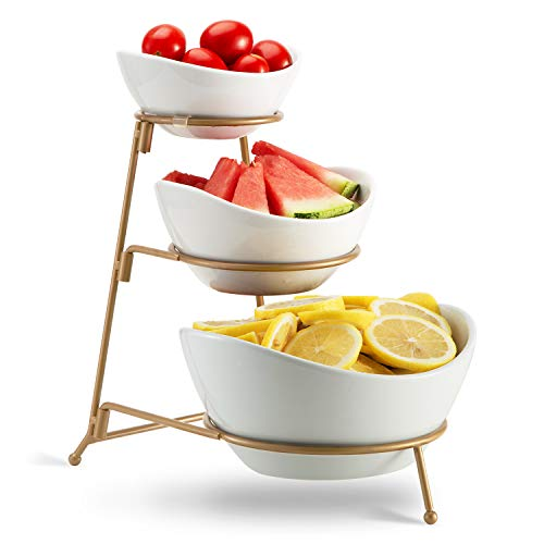 3 Tier Oval Bowl Set with Metal RackHabiLife Three Ceramic Fruit Bowl Serving - Tiered Serving Stand - Dessert Appetizer Cake Candy Chip Dip Gold