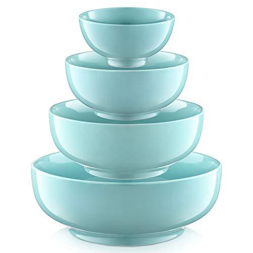 DOWAN 4 Piece Porcelain Serving Mixing Bowl Set Diameter 45 Inches 6 Inches 7 Inches 9 Inches Lake Blue