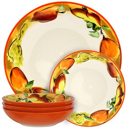 Elama 930103088M Fruitful Bounty 5 Piece Pasta Serving Bowl Set White