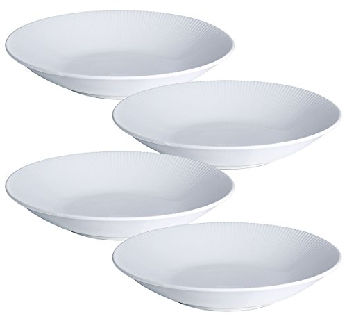 Y YHY 30 Ounces Porcelain Pasta Salad Bowls 96 Inches White Serving Bowls Set Wide and Shallow Set of 4 Stripe Pattern