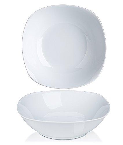 Y YHY 42 Ounces Porcelain Salad Cereal Bowls White Square Serving Bowl Set Large and Deep Set of 2