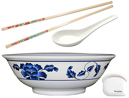 Pho Rice  Noodle Melamine Soup Bowl Set with Pan Scraper 57 Ounce 975 Inch Includes 1 Pair of Chopsticks and 1 Oriental Soup Spoon Pho size Large Design Blue Lotus