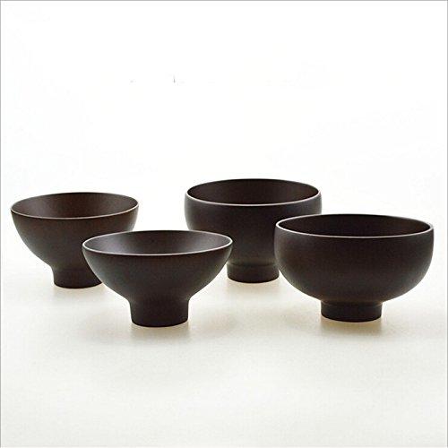 4Pcs Wood Soup Rice Bowl Handmade Wooden Salad Brown Bowls Wood Tablewear
