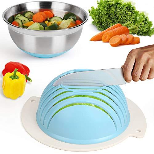 Salad Cutter Bowl Easy Salad Maker with Stainless Steel Base Fast Fruit Vegetable Salad Chopper Bowl Blue