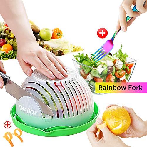 Salad Cutter BowlFruit Vegetable Salad Chopper BowlRainbow Fork CutleryUpgraded Easy Salad MakeFresh Salad Slicer FDA-Approved