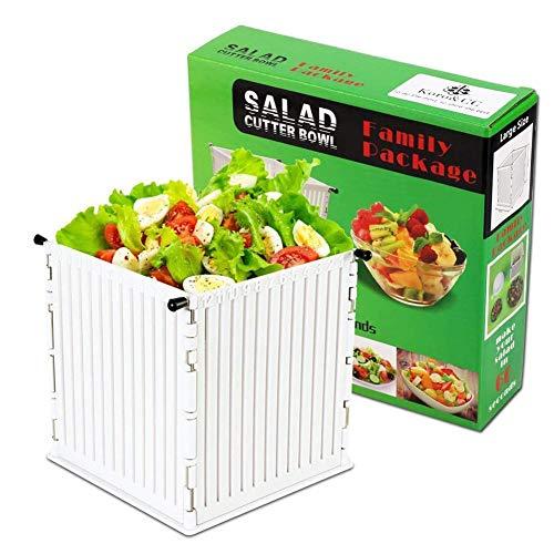 Salad Cutter Bowl HDPE PP Fruit Salad Square Slicer Vegetable Chopper Fast Vegetable Fruit Salad Chopper Bowl Cutting Food Slicer Bowl 16x165cm