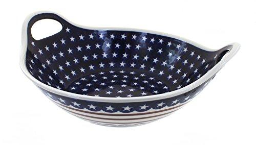 Polish Pottery Stars Stripes Deep Serving Bowl with Handles