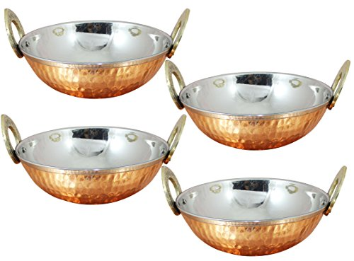 Set of 4 Serving Bowl with Handles Stainless Steel Serveware Accessories Karahi Pan Diameter 71 Inches