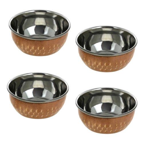 Set of 4 Indian Tableware Bowl Copper Dinnerware Accessories Diameter 4 Inches