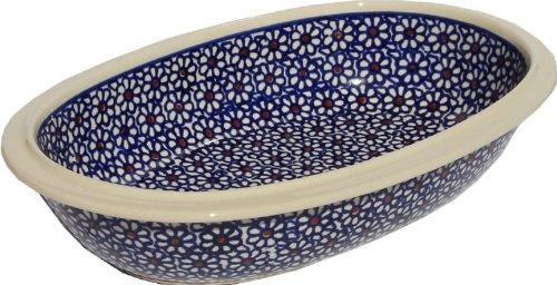 Polish Pottery Oval Serving Dish From Zaklady Ceramiczne Boleslawiec 278-120 Classic Pattern Length 975 Width 625 Depth 2