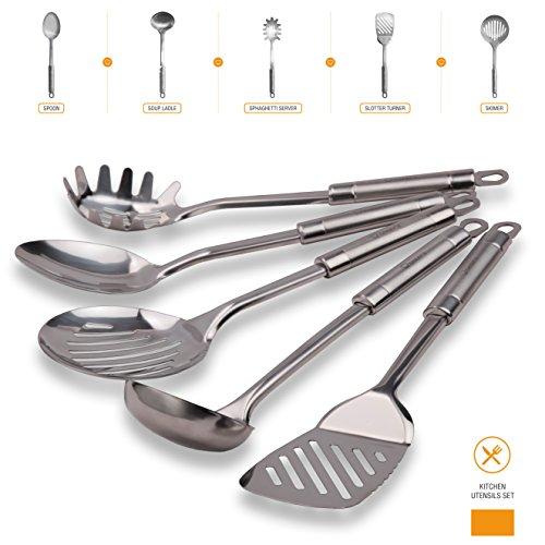 Cheefs 5-Piece Stainless Steel Kitchen Cooking Utensil Set
