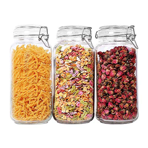 ComSaf Airtight Glass Canister Set of 3 with Lids 78oz Food Storage Jar Square - Storage Container with Clear Preserving Seal Wire Clip Fastening for Kitchen Canning CerealPastaSugarBeansSpice