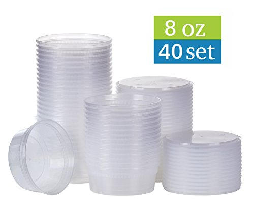 TashiBox 8 oz plastic food storage containers with lids - 40 sets