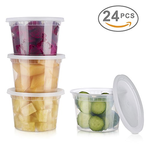 Glotoch 24 Pack Durable Plastic Microwaveable Reusable Clear Takeout Travel Deli Food Storage Containers with Lids Dishwasher and Freezer Safe BPA Free 16oz