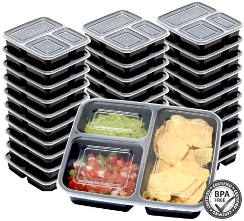 30 Value Pack - SimpleHouseware 3 Compartment Reusable Meal Prep Food Storage Container Lunch Boxes Stackable and Dishwasher Microwave Freezer Safe 36 ounces