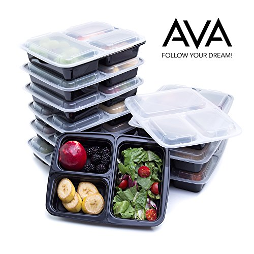 Meal Prep Containers 3 Compartment - Bento Box - Reusable Food Storage Containers - BPA-FREE - Food Prep Containers Ideal for Breakfast Lunch Desserts Microwave Freezer Dishwasher